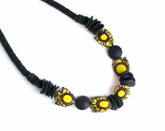 Neon statement necklace polymer clay - The Afro Fish - chunky bold necklace with large bright yellow fish-shaped beads - one-of-a-kind