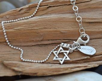 Star of David  Bracelet - Sterling Silver - Ships out in 1 Day - Bat - Mitzvah Gift, 12th Birthday, Judaica , Hebrew, Magen David Charm