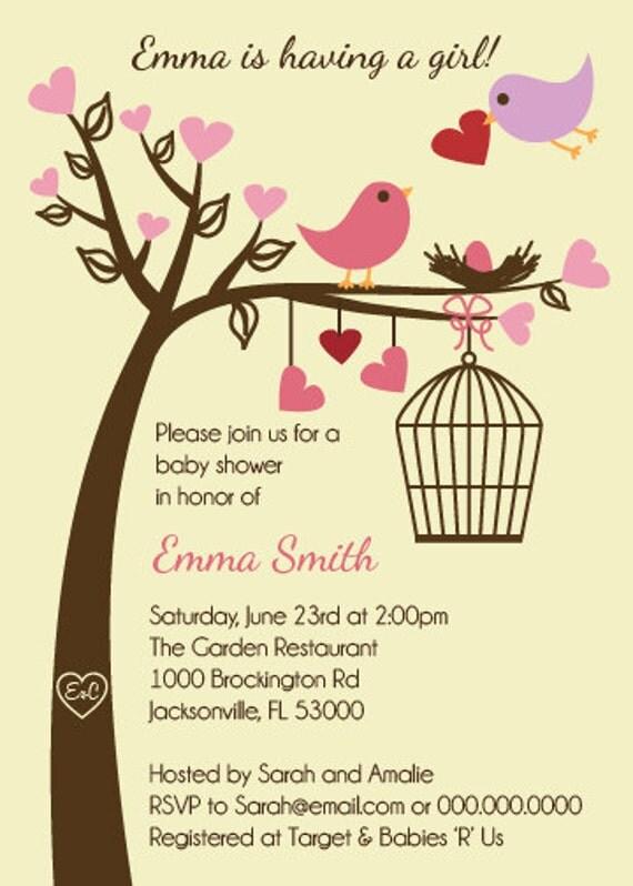 Love Birds Baby Shower Invitation Printable Digital