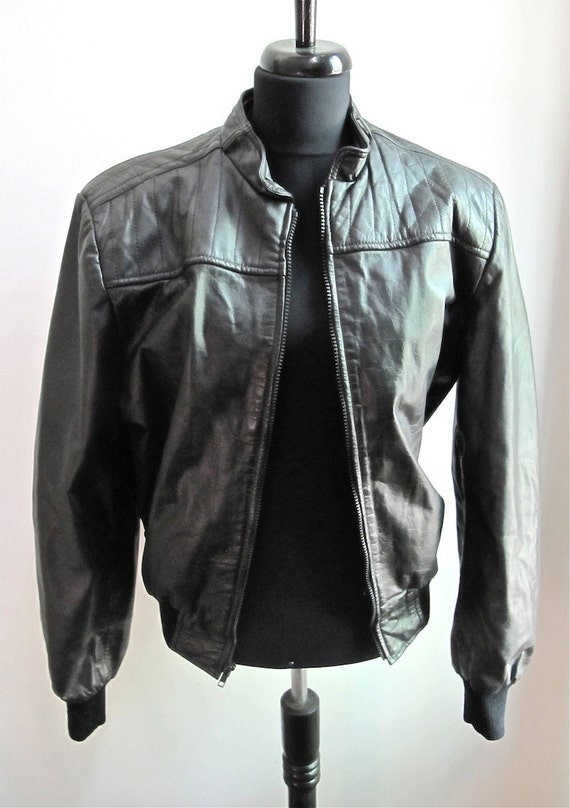 Black Leather Jacket Zip Front Size M CLEARANCE
