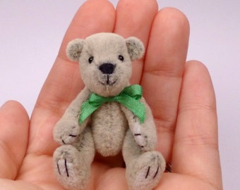 Micro Miniature Artist Bear, grey 5.5cm / 2inches  by VonneBears