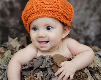 Pumpkin Hat - Baby Hat -Textured Pumpkin Hat -Halloween Baby Hat - by JoJosBootique