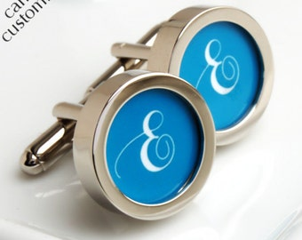 Single Initial Cufflinks, Monogrammed Cufflinks in Your Choice of Colour PC432