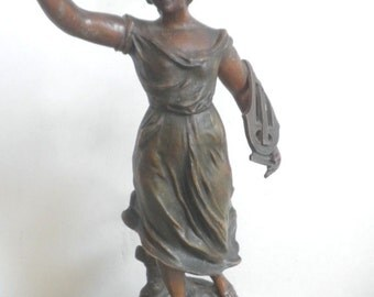 Musique Muse Bronze by Ruffony Circa 1920
