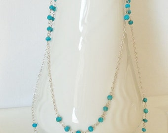 Extra Long Sleeping Beauty Turquoise Handmade Necklace Wire Wrapped with  Sterling Silver  SALE