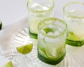 Flavored cocktail rim sugar - lime flavored, green colored rimming sugar for sweet margarita, caipirinha or mojito