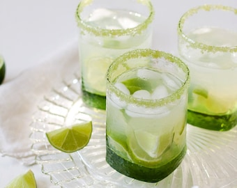 Flavored cocktail rim sugar - lime flavored, mouth puckering tart sweet green colored rimming sugar - margarita sugar, martini sugar, shots