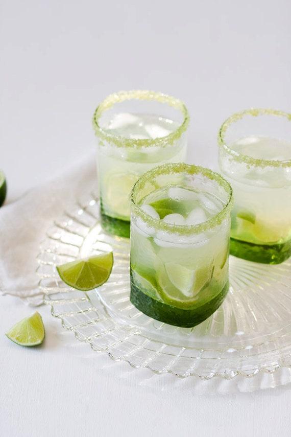 Flavored cocktail rim sugar - lime flavored, green colored rimming sugar for sweet margarita, caipirinha or mojito