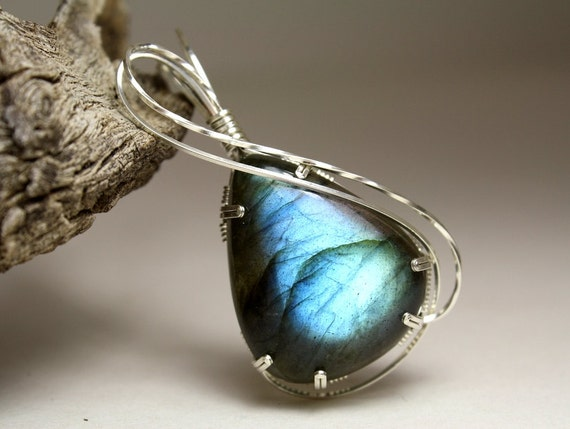 Illuminating Labradorite Gemstone Wire Wrapped Teardrop Pendant, Handmade with Sterling Silver