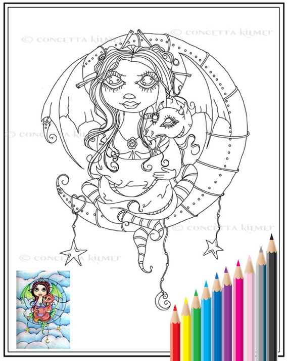 Embrace Your Dragon - Printable PDF Coloring Page Digital Download
