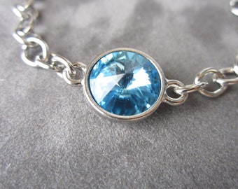 March Birthstone Bracelet, Silver Aquamarine Birthstone Jewelry, Aquamarine Bracelet, March Birthday Jewelry