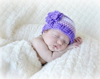 Crochet Baby Girl Flower Beanie - Newborn to Adult - Grape, Orchid, White - MADE TO ORDER