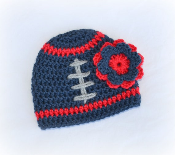 Crochet Baby Girl Football Flower Beanie - Newborn to Adult - Dark Country Blue/Red/Silver Heather - MADE TO ORDER