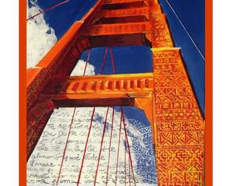 SAN FRANCISCO, Golden Gate Bridge, International Orange, Tribal Art, Original Illustration, Poster,Free Shipping in USA.