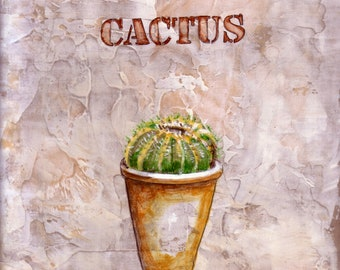 """CACTUS, Number 2, Original Mixed Media Painting,  Canvas Panel ,9"""" x 12 """". Free Shipping in USA."""