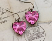Pink Heart Earrings Rose Vintage Glass Hearts -  Wedding Love Anniversary Bridesmaids Clip On Available