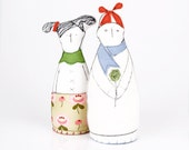 Kids - Couple or  friends in Black and white - Dressed in Blue, green, pink and red - handmade Eco Friendly fabric dolls