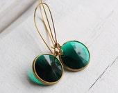 Jade Green Classic Earrings ... Emerald Stones set in Gold