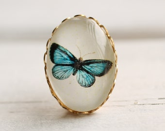 Miniature Vintage Butterfly Brooch ... Antique Turquoise Botanical Pin