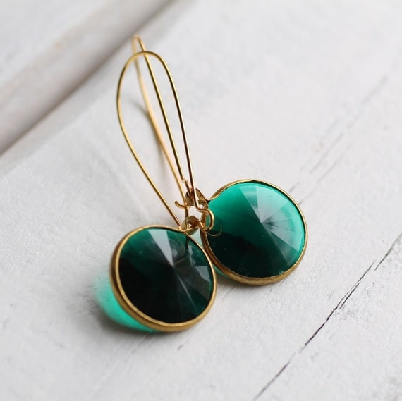 Jade Green Classic Earrings ... Emerald Stones set in Gold