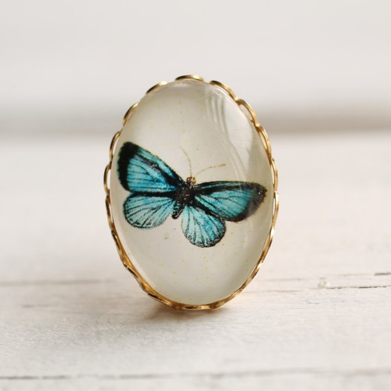 Miniature Vintage Butterfly Brooch    Antique Turquoise Botanical Pin