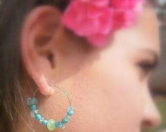 SALE Silver hoop earrings turquoise hoop earrings summer earrings green hoop gemstone earrings handmade gemstone earring nautical jewelry