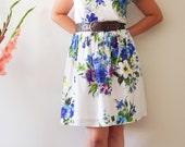Vintage inspired dress, bridesmaid dress, flower dress, cap sleeve dress.