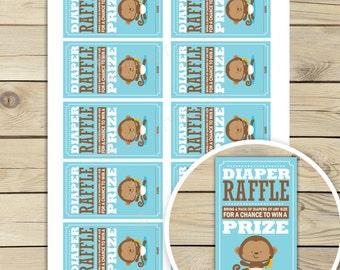 Monkey Baby Shower Diaper Raffle Ticket - Blue Baby Shower Game - Boy Baby Shower Games Printable - Instant Downloard - Diaper Raffle Cards