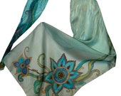 Soft Teal Silk Scarf Hand-Painted Floral Motives Oblong Silk Scarf Teal Blue Green Gray Soft Silk Scarf
