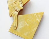 Antique 20's Rare French Art Deco Yellow Marbled Celluloid Flapper Cigarette Case