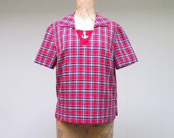 Vintage 1960s Blouse / 60s Red Cotton Plaid Nautical Short Sleeve Top / Medium