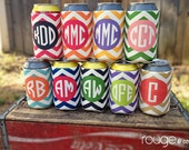chevron beverage insulator with monogram - choose from 9 different chevron color combos