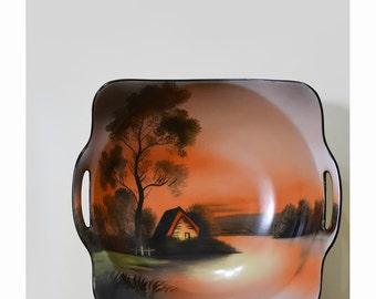 Vintage Antique 1920s Noritake China Dish • Hand Painted China • Painted Porcelain Bowl with Handles • Noritake Morimura • Japanese Art Deco