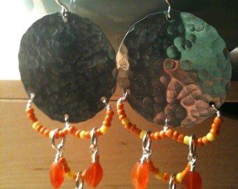 Hammered Silver Disc Earrings with Orange Beadwork