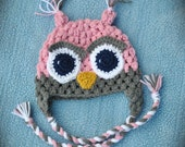 Crochet Owl Hat with Ear Flaps - MADE TO ORDER - Baby to Toddler Size