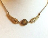 Bronze Orb Medallion & Gold Wings Necklace, Steampunk Gift For Her