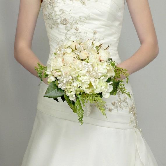Wedding Flowers - Pearl Flower and Silk Rose Bridal Bouquet - Wedding Bouquets - Fabulous Brooch Bouquet Alternative