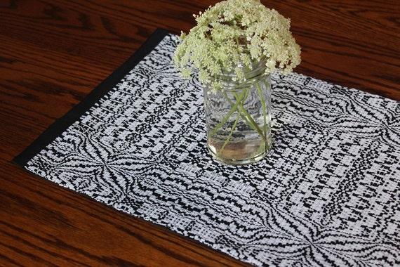 Handwoven Table Mat Overshot Blooming Flower Black