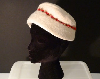 Valentines Day Hat Vintage Christmas Pill box Hat Cloche 1950s 1960s Off White Red Gold trim James Campbell Off White Winter Cap
