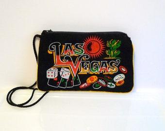 Las Vegas Black Velvet Bag Vintage Souvenir Shoulder Purse Change Purse painted Coin Purse lipstick case Gambling Dice Cactus Sun 1970s