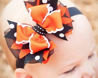 Trick or Treat Halloween Combo Bow Baby Petite Headband, Halloween bow, Infant Headband, Boutique Baby Bow, Halloween Headband