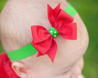 Baby Christmas Headband,  Red Bow, Green Bow, Christmas Baby Headband Bow, Boutique Bow