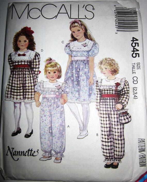 McCalls 4545 Girls 80s Jumpsuit Dress Handbag Sewing Pattern Size 2, 3, 4 Breast 21 22 23
