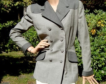 1940's Vintage Western Style Grey Gray Gris Two-Tone Ladies Suit Business Jacket USA size 8