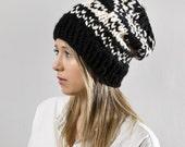Ski Sweater Knit Hat - Fair Isle Print in Black and White