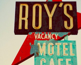 Roy's Motel and Cafe Vintage Neon Sign - Route 66 Road Trip - Mid Century Modern - Amboy California - Fine Art Photography