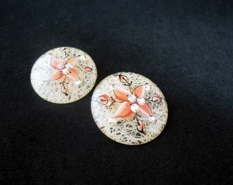 Lucite Earrings, Painted ca. 1950s