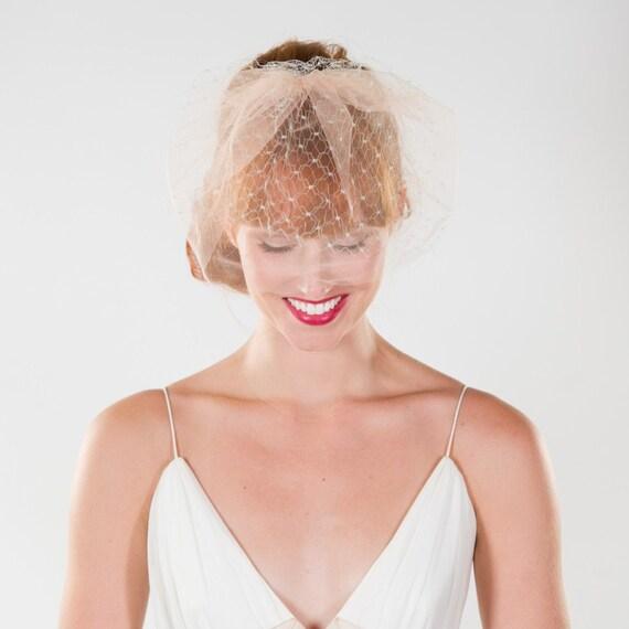 Bridal, Birdcage, Veil, Grey and Peach- SALE