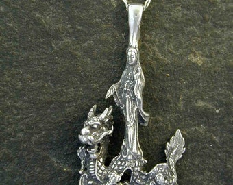 Sterling Silver Quan Yin and the Dragon Pendant on a Sterling Silver Chain