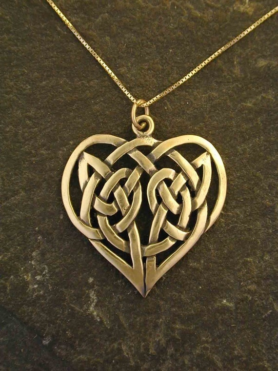 14k Gold Celtic Knot Heart Pendant On A 14k Gold Chain